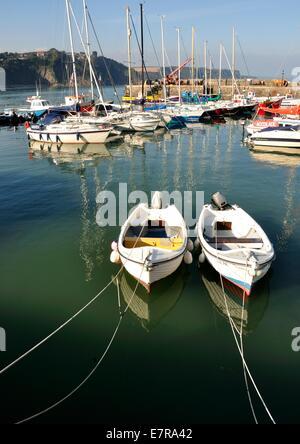 small fishing boats and sailing yachts in a harbour - Stock Photo