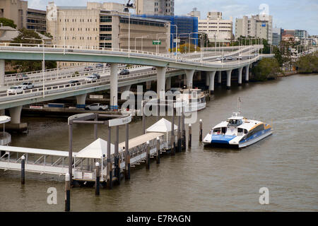 Brisbane Citycat on the Brisbane River - Stock Photo
