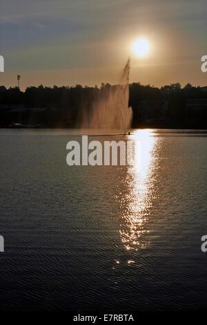 Sunrise over the fountain in Lappeenranta, Finland - Stock Photo