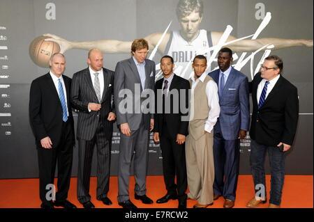 Cologne, Germany. 16th Sep, 2014. NBA coach Rick Carlisle (L-R), NBA player Brian Cardinal, Dirk Nowitzki, Devin - Stock Photo