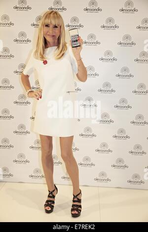 Paris Hilton promoting Alessandro products during her visit at the Beauty Fair.  Featuring: Silvia Troska Where: - Stock Photo