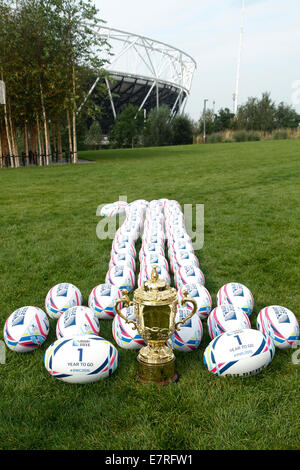 London, UK. 23rd September 2014. Webb Ellis Cup on display in Newham, marking 1 Year To Go until first tournament - Stock Photo