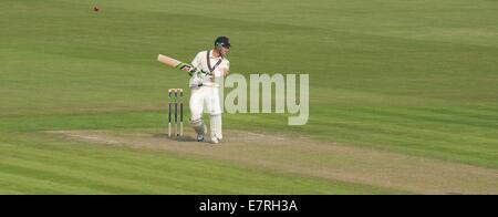Manchester, UK  23rd September 2014 Joe Denly (Middlesex) avoids a bouncer from Tom Bailey in his innings of 38. - Stock Photo