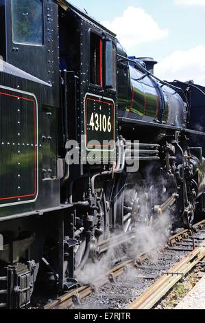 Steam Locomotive Ivatt Class 4 2-6-0 number 43106 in British Rail Black, Severn Valley Railway, Arley, Worcestershire, - Stock Photo