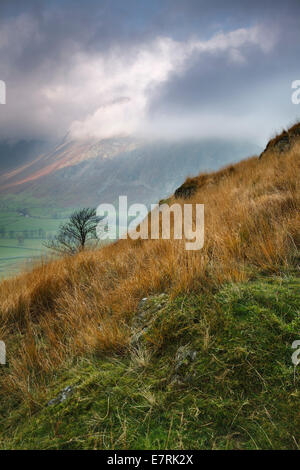 Clearing Cloud on the Langdale Pikes, Lake District, Cumbria, UK - Stock Photo
