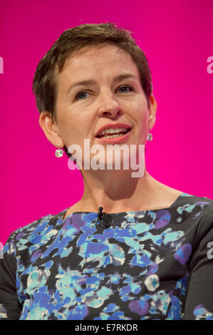 MANCHESTER, UK. 23rd September, 2014. Mary Creagh, Shadow Secretary of State for Transport, addresses the auditorium - Stock Photo