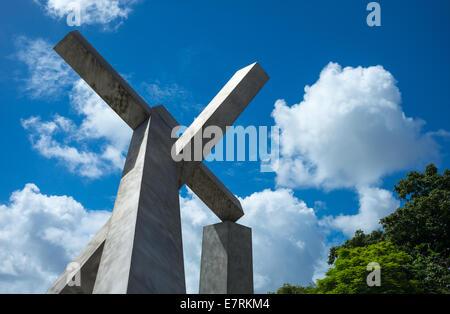 Brazil, Salvador, the Cruz Caida (fallen cross) near the Elevador Lacerda - Stock Photo