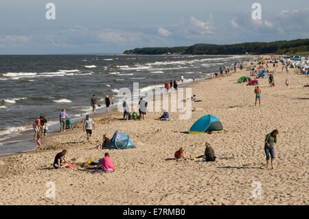 Late summer's afternoon on the beach at Zinnowitz, Usedom, Mecklenburg Western Pomerania, Germany. - Stock Photo