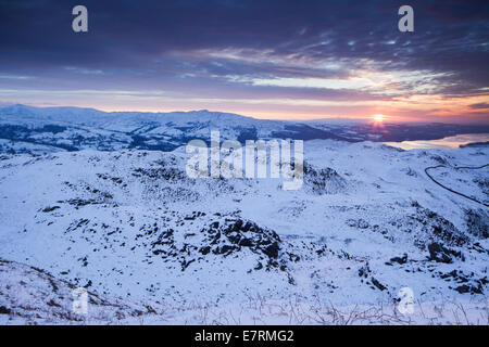 Loughrigg fell and Windermere at Sunrise, Lake District National Park, Cumbria, UK - Stock Photo