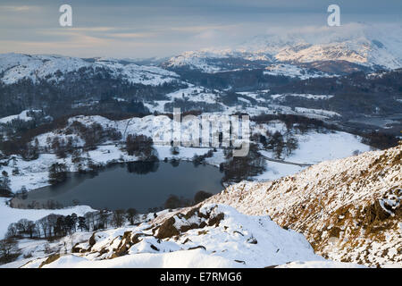 Loughrigg Tarn & the Coniston Fells In Winter, Lake District, Cumbria, UK - Stock Photo