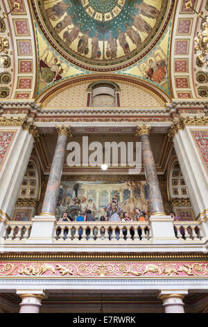 Goetze Murals being admired by the public in the Foreign Office, London - Stock Photo