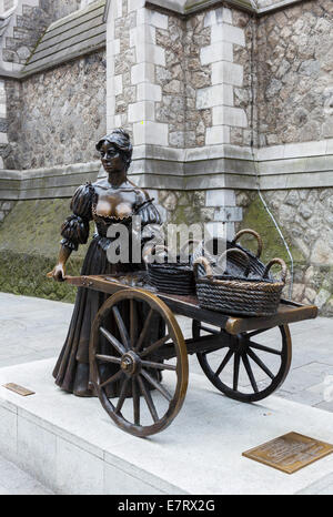 Statue of Molly Malone in its temporary home (till 2017) outside the tourist office on Suffolk Street, Dublin City, - Stock Photo