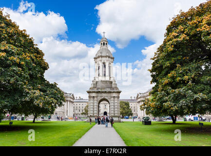 Library Square and the Campanile, Trinity College, Dublin, Republic of Ireland - Stock Photo