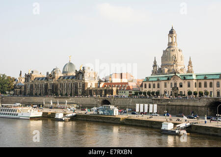 DRESDEN, GERMANY - SEPTEMBER 4: Tourists at the promenade of the river Elbe in Dresden, Germany on September 4, 2014.
