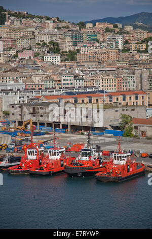 Genoa,Italy in the region of Liguria,Italy. commercial sea port and cruise ship embarkation point. - Stock Photo