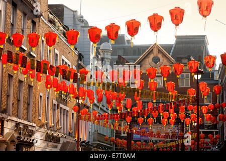 Colorful chinese lanterns in Gerrard Street, Chinatown, Soho, london UK - Stock Photo
