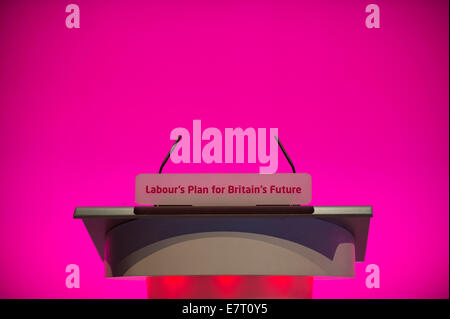 MANCHESTER, UK. 23rd September, 2014. The speakers' podium on day three of the Labour Party's Annual Conference - Stock Photo