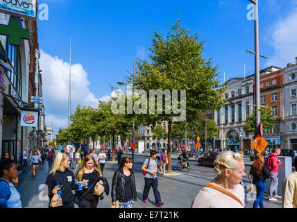 O'Connell Street in the city centre looking towards the Spire, Dublin City, Republic of Ireland - Stock Photo