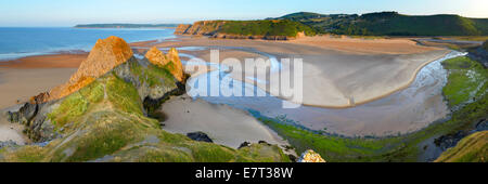 Panoramic view of Three Cliffs Bay, Gower, Swansea, Wales - Stock Photo