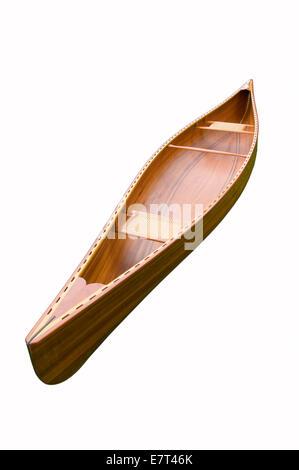 Cedar strip canoe on white - Stock Photo