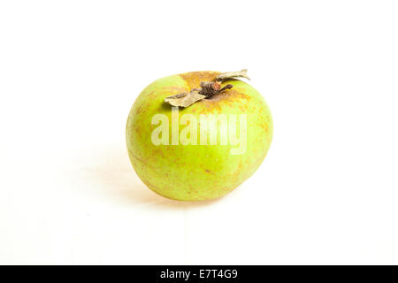 Biological green apple fruits isolated on white background - Stock Photo
