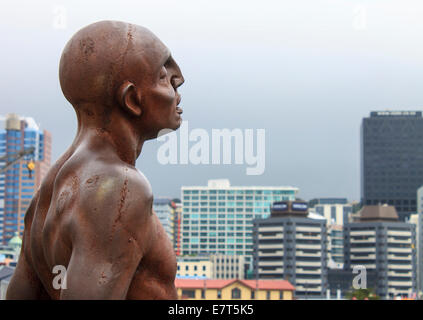 Solace in the Wind statue by sculptor Max Patte - situated on Wellington Waterfront facing out to sea. - Stock Photo