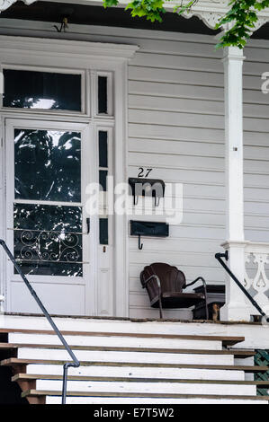 Front Porch and Steps, White Clapboard House, 27 South Market Street, Gospel Hill, Staunton, Virginia - Stock Photo