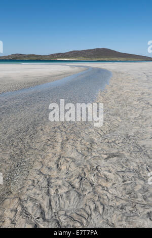 Sand patterns and stream on Luskentyre Beach, Isle of Harris, Outer Hebrides, Scotland - Stock Photo
