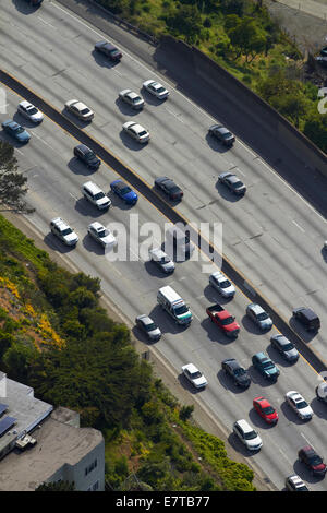 Heavy traffic on Bayshore Freeway (aka James Lick Freeway, US 101), San Francisco, California, USA - aerial - Stock Photo