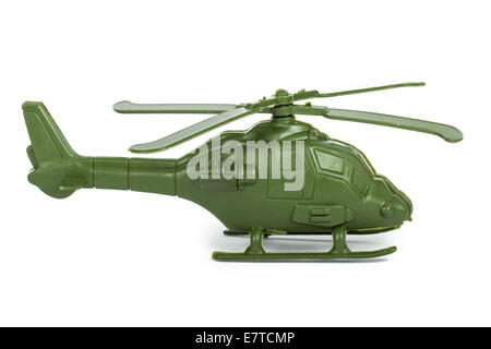 Miniature toy helicopter, isolated on white background. - Stock Photo