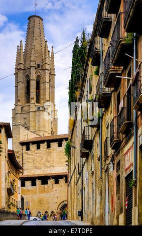 Church of San Feliu or Church of Sant Felix, Girona, Catalonia, Spain - Stock Photo