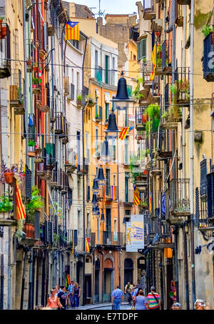 Colourful alley with lanterns, historic centre, Girona, Catalonia, Spain - Stock Photo
