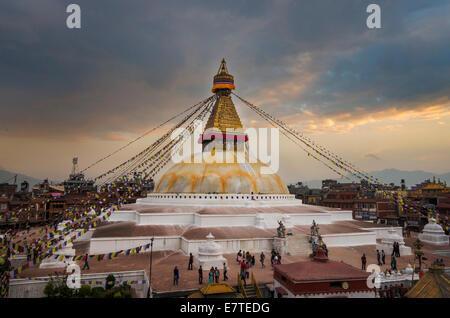 Sunset over the Stupa of Boudhanath, Kathmandu, Nepal - Stock Photo