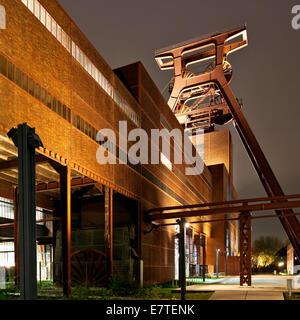 Zeche Zollverein Coal Mine Shaft XII with headframe, illuminated at night, Essen, Ruhr area, North Rhine-Westphalia, - Stock Photo