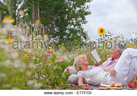 Smiling senior couple drinking wine and having picnic in field of wildflowers - Stock Photo