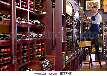 Worker on ladder stocking bottles in wine shop - Stock Photo