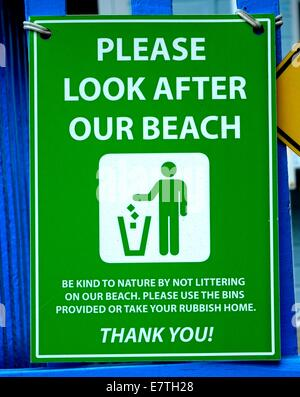 Please look after our beach sign England uk - Stock Photo