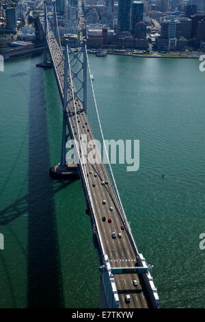 Traffic on San Francisco–Oakland Bay Bridge, crossing San Francisco Bay to downtown San Francisco, California, USA - Stock Photo