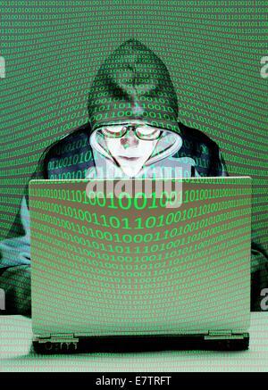 MODEL RELEASED. Computer hacker, composite image. - Stock Photo