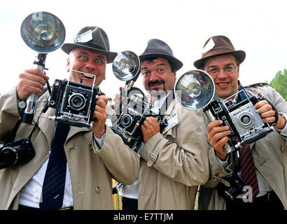 Old Fashioned Press Photographers Goodwood Revival UK - Stock Photo