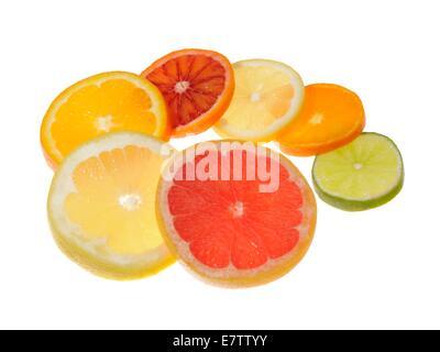 Slices of citrus fruit, studio shot. - Stock Photo