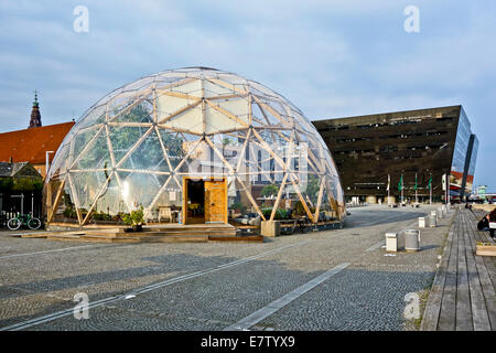 Newly built Dome of Visions in front of the Royal Library on Søren Kierkegaards Plads in Copenhagen Denmark - Stock Photo