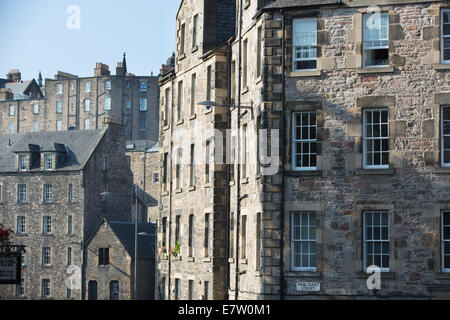 Buildings on Merchant Street and Candlemaker Row, Edinburgh Old Town, Edinburgh, Scotland, UK - Stock Photo