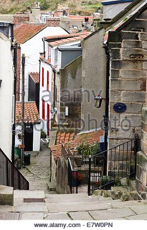 Steep narrow street Staithes North Yorkshire England UK - Stock Photo