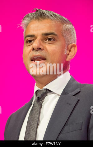 MANCHESTER, UK. 24th September, 2014. Sadiq Khan, Shadow Secretary of State for Justice, Shadow Lord Chancellor, - Stock Photo