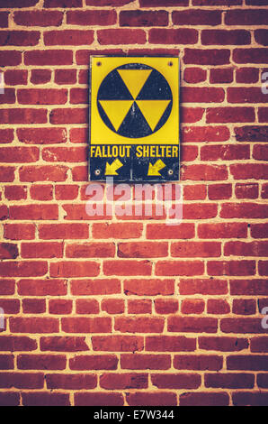 Nuclear Fallout Shelter Sign - Stock Photo