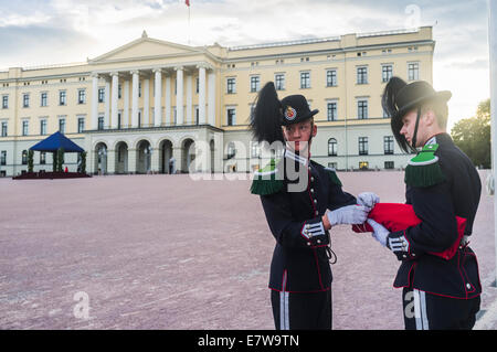 Flag ceremony at the Royal Palace, Oslo, Norway - Stock Photo