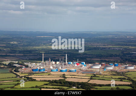 Aerial view of Murco refinery Milford Haven  Hubberston  Pembrokeshire, Wales UK