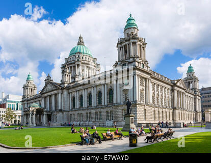 City Hall, Donegall Square, Belfast, Northern Ireland, UK - Stock Photo