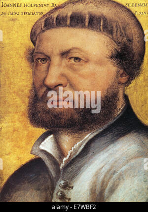 HANS HOLBEIN THE YOUNGER c 1497-1543) self portrait of the German artist - Stock Photo